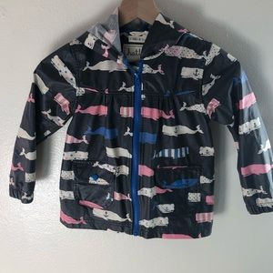 Hatley Lightweight Zip Up Rain Jacket Whale Print